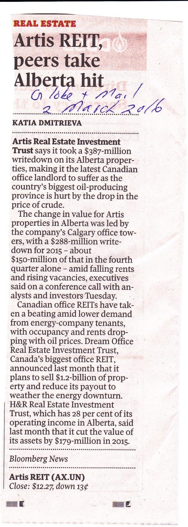 Artis REIT commercial real estate writedowns