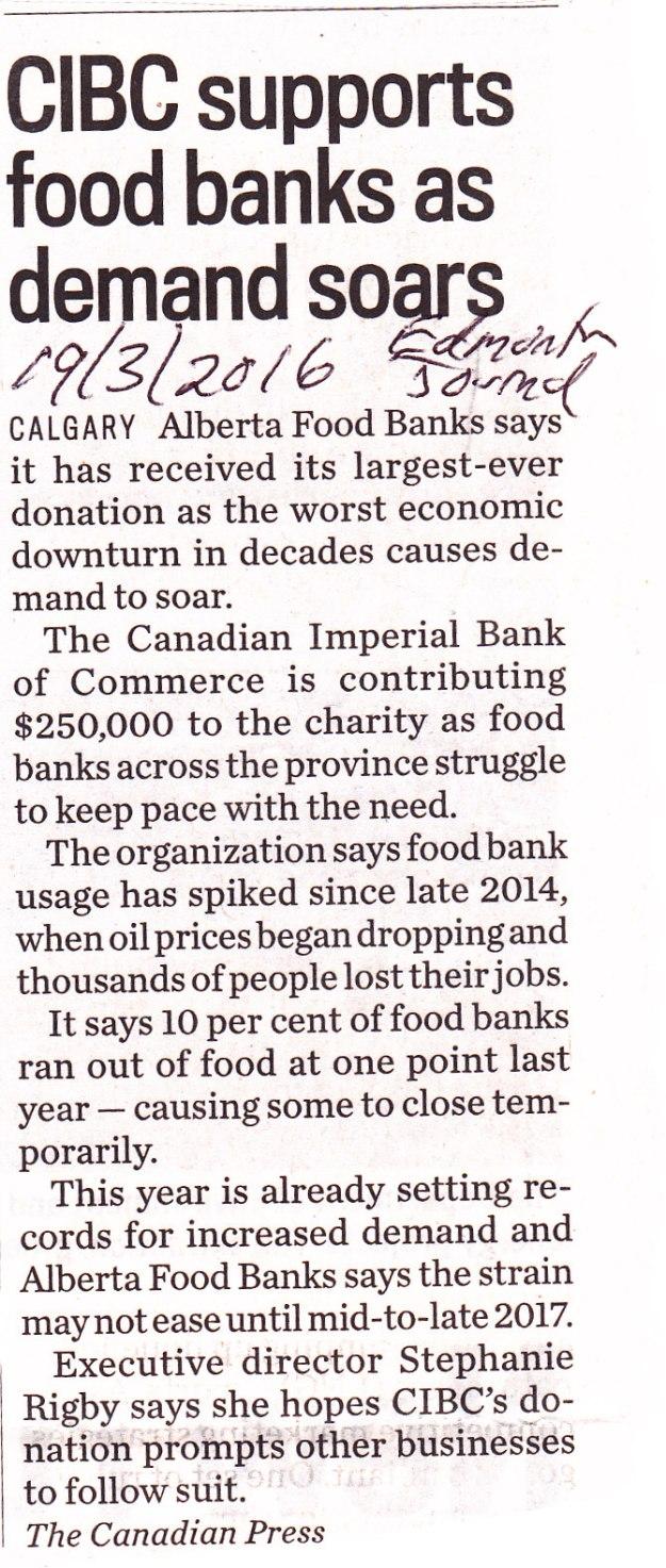 Calgary Food Bank donations