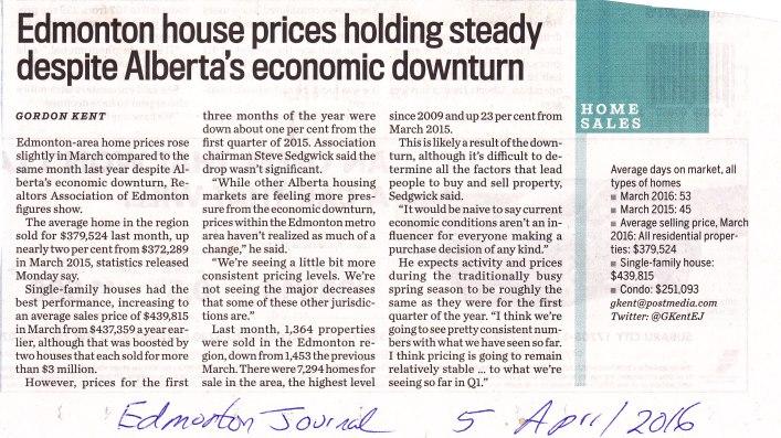 Edmonton House prices steady