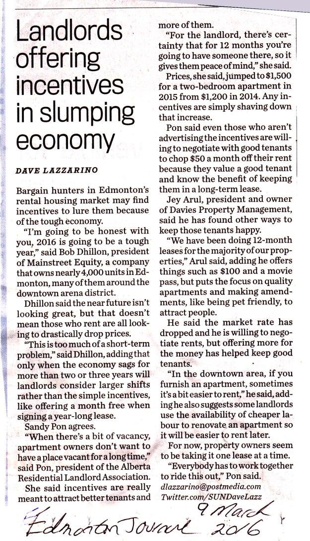 Landlords offering incentives