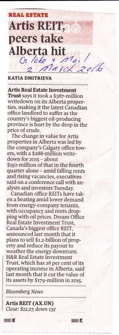 Artis REIT, peers take Alberta hit2-3-16 GM