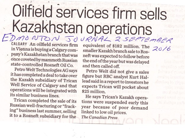 Oilfield services firm sells Kazakhstan operations2-9-16 EJ