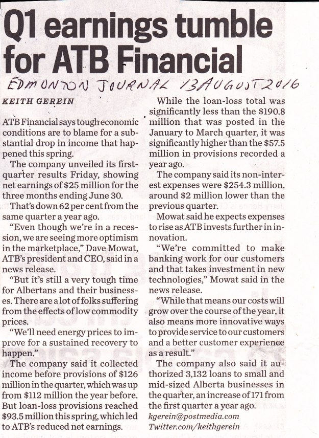Q1 Earnings tumble for ATB Financial13-8-16 EJ