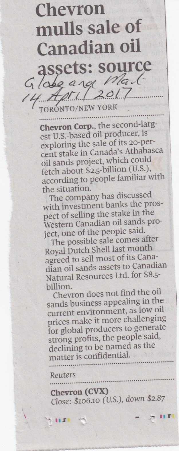 Chevron mulls sale of Canadian oil assets-source14-4-17 GM