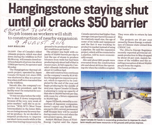 Hangingstone staying shut until oil cracks $50 barrier9-8-16 EJ