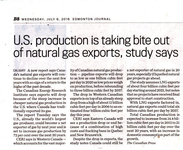 U.S. Production is taking a bite out of natural gas exports, study says6-7-16 EJ