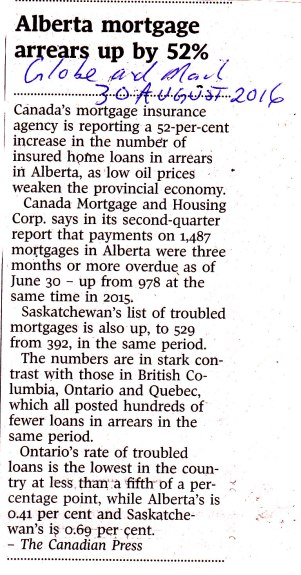 Alberta mortgage arrears up by 52%30-8-16 GM